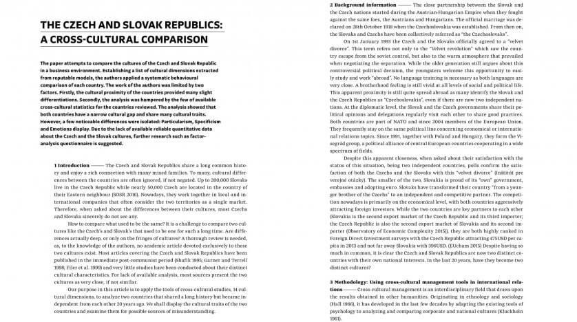 The Czech and Slovak Republics: A Cross-Cultural Comparison